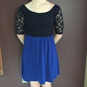 Black Lace Top, Blue Skirt, Mid-Sleeve Mini Dress